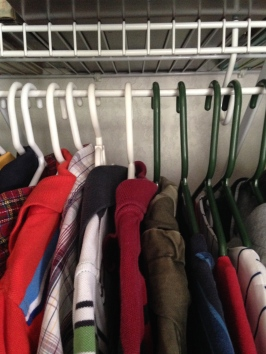If closet space is shared, use color-coded hangers for each person.