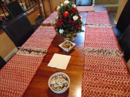 Table dressed for holiday entertaining